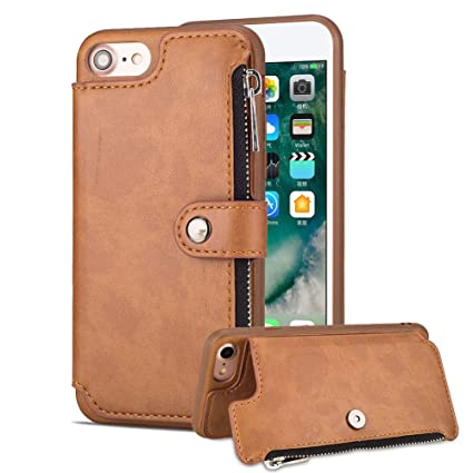 Amazon com: Aearl iPhone 7 Zipper Wallet Case,iPhone 8 Leather Case