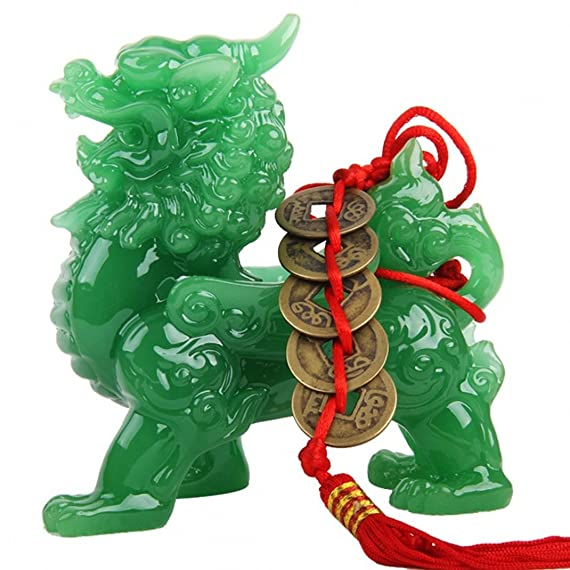 Wenmily Feng Shui Green Pi Yao Pi Xiu Wealth Porsperity Statue Free Prosperity Protection Set of 5 Lucky Charm Ancient Coins on Red String,Feng Shui Decor
