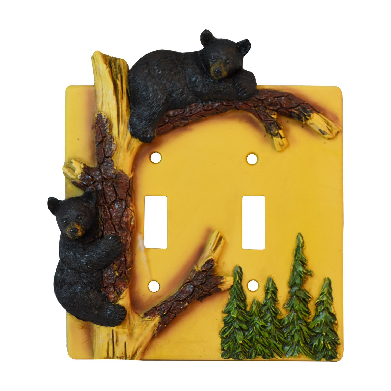 Black Bear Double Switch Cover Home Decor - Wildlife Bear Climbing Tree Rustic Hunting with Wall Mounting Screws Pine Ridge