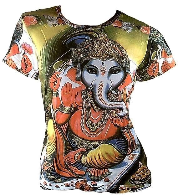 TICILA – Camiseta de Mujer Verde Popular Hindú Dios Lord Ganesh Ganesha Psychodelic Goa Trance DJ