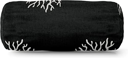 Majestic Home Goods Black Coral Indoor Outdoor Round Bolster Pillow 18.5 L x 8 W x 8 H