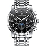 VIGOROSO Men's Wrist Watch, Waterproof Luxury Stainless Steel Watches for Business Man Quartz Movement Analog Display with 3