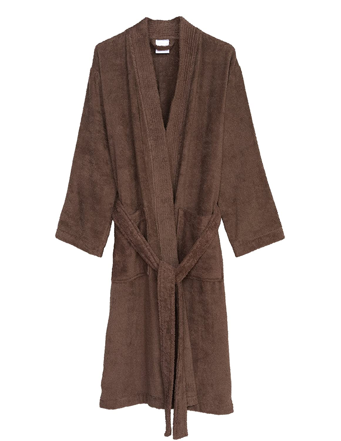 Deep Taupe TowelSelections Turkish Cotton Robe Kimono Collar Terry Bathrobe Made in Turkey