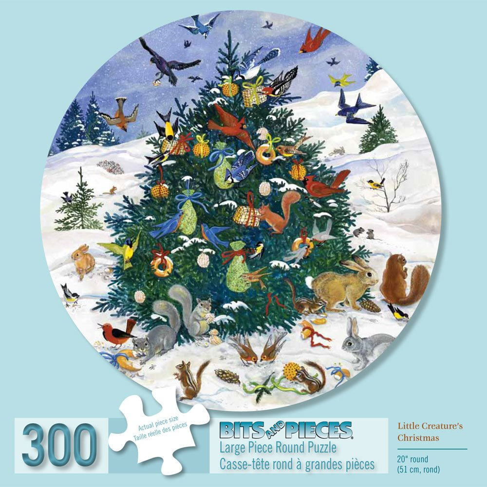 Bits and Pieces - 300 Piece Round Puzzle - Little Creature's Christmas - Animal Chirstmas Party Puzzle - by Artist Elissa Della-Piana - 300 pc Jigsaw