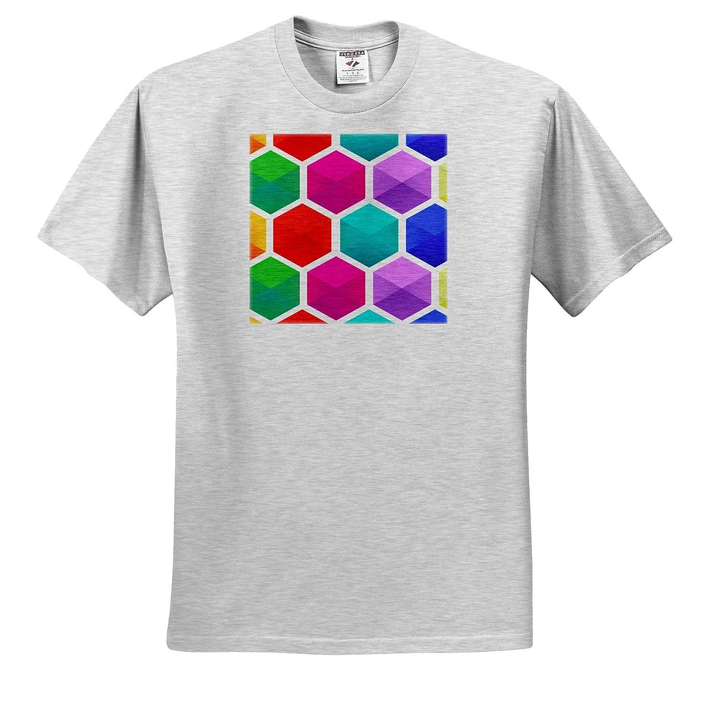 3dRose Sven Herkenrath Art Print of Mosaic Texture with Many Pattern Colours Geometric T-Shirts