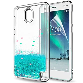new style 18341 ddcf2 LeYi Nokia 2 Case with Screen Protector for Girls Women, 3D Glitter Liquid  Cute Personalised Clear Transparent Silicone Gel TPU Shockproof Phone Cover  ...
