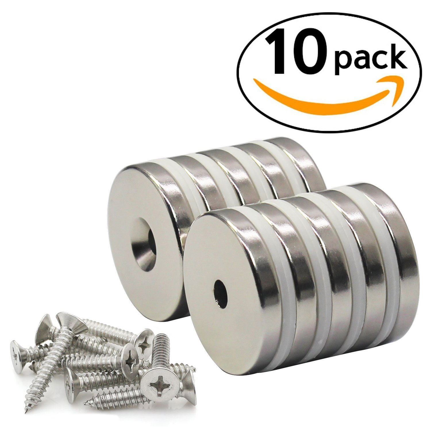 Strong Neodymium Disc Countersunk Hole Magnets With Screws 10 Pack for Kitchen, Office, Garage, Home, Workplace 1.26''D x 0.2''H