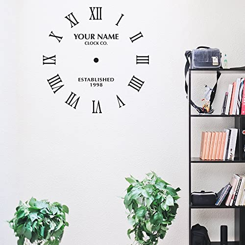 Katazoom 22 Personalized Classy Clock Vinyl Wall Decal Customized with Your Name and Date Wall Decals