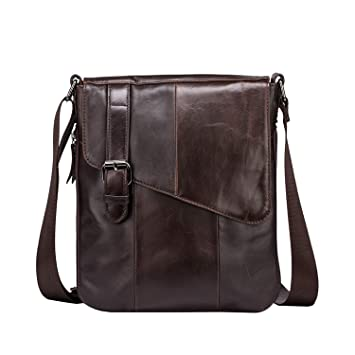 88f4422fe90 Amazon.com | BAIGIO Mens Genuine Leather Shoulder Bag Vintage Small  Messenger Business Crossbody Bags iPad Bag School Satchel (Coffee) | Messenger  Bags