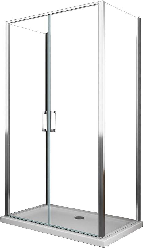 Cabina de ducha 3 lados 2 puertas batientes de cristal ...