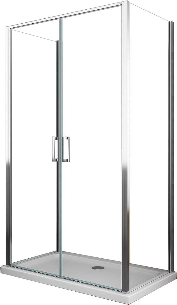 Cabina de ducha 3 lados 2 puertas batientes de cristal transparente 6 mm H190 Ginelli Saloon varios tamaños: Amazon.es: Bricolaje y herramientas