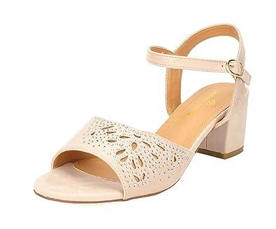428bc14bdb6 DREAM PAIRS Women s Mona 10 Nude Fashion Block Heeled Sandals Size 5 B(M) US