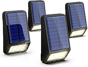 LOHAS Solar Lights Outdoor, Solar Fence Post Lights IP65 Waterproof, 8LEDs Solar Light Outdoor for Security, Daylight 6000K Auto on/Off Yard Garden Wall Mount Night Light, Updated Version, 4Pack