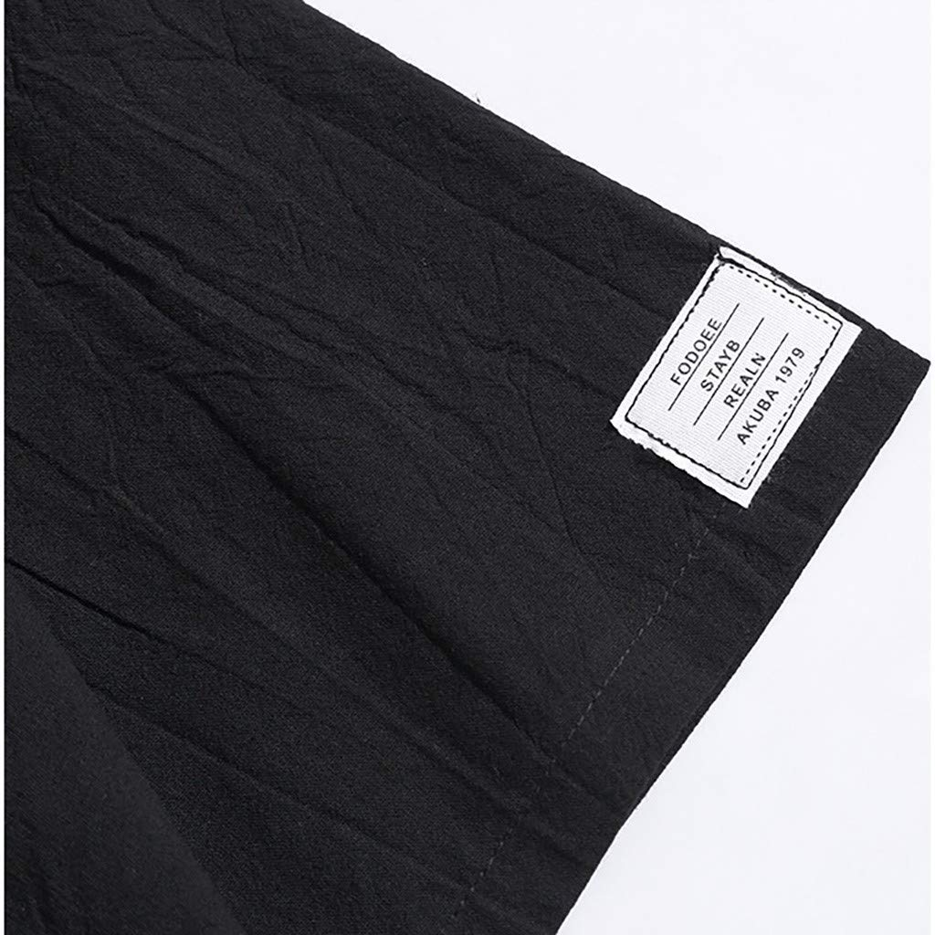 Linen Short Sleeve Solid Color Crew Neck Loose Casual Tops TOOPOOT Mens T Shirt Summer