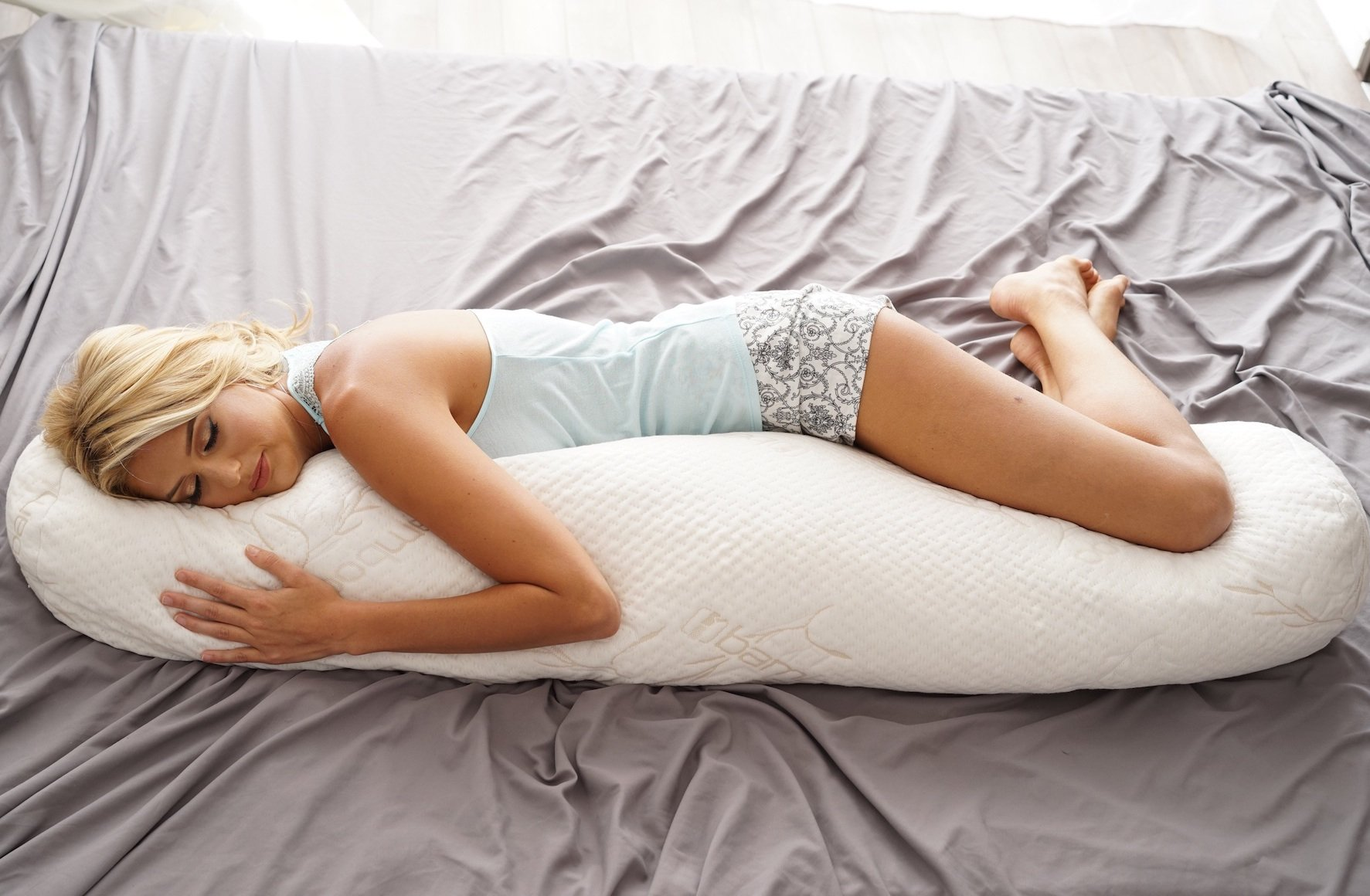 Body Pillow – Organic Latex Interior & Plush Bamboo Cover – Perfect Maternity & Pregnancy Pillow – Provides Full Body Orthopedic Support & Pain Relief for Back, Hips, Shoulders & Neck