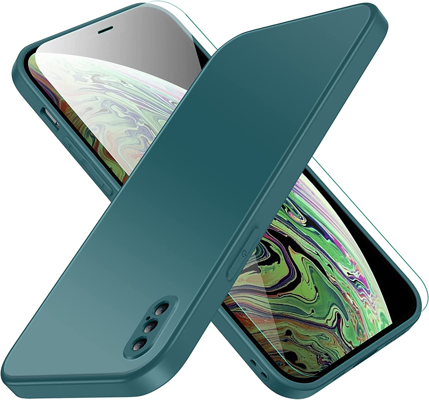 Compatible with iPhone Xs Max Case, Jonwelsy Luxury Soft Liquid Silicone Shockproof Protection Phone Case + Frosted Tempered Glass Back Cover for iPhone Xs Max (6.5 inch) (Midnight Green)