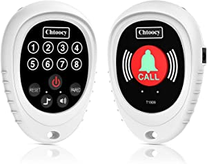 Chtoocy Rechargeable Wireless Caregiver Pager Smart Call Button Transmitter with Receiver Nurse Calling Alert Patient Help System for Elderly 1000 Feet Range (1 Call Button and 1 Receiver, White)