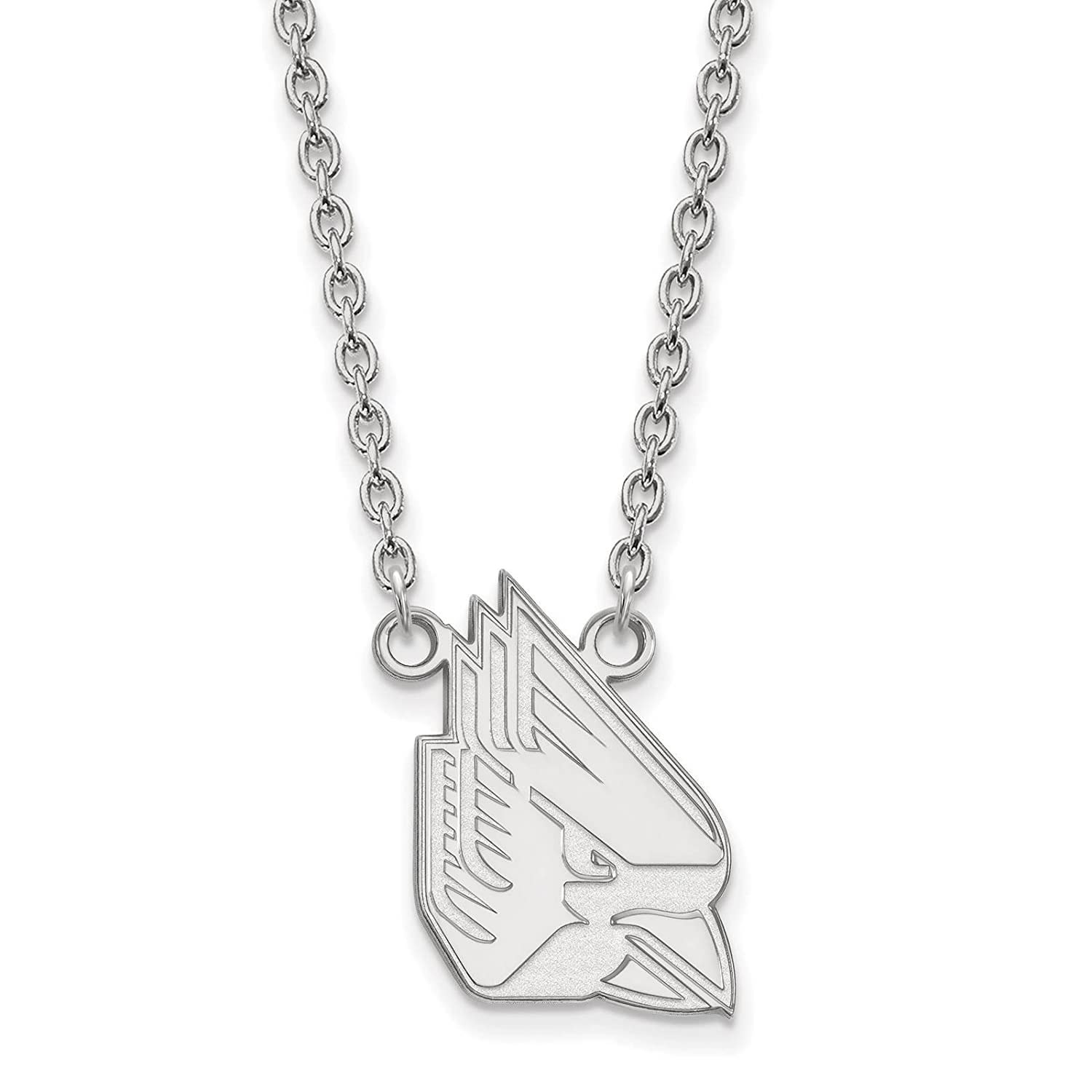 925 Sterling Silver Rhodium-plated Laser-cut Ball State University Large Pendant w//Necklace 18