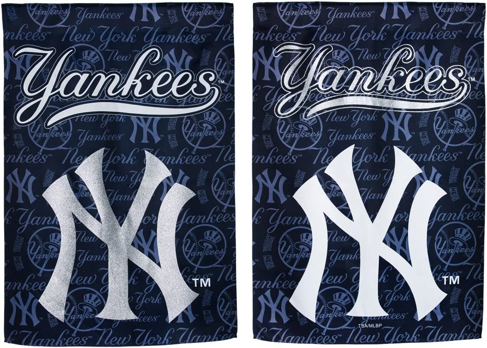 Team Sports America NY Yankees Glitter Logo Garden Flag