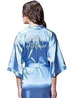 Turquaz Linen Satin Kimono Rhinestone Matron of Honor Robe