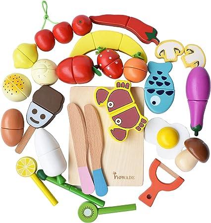 SIGNIFICADO EDUCATIVO- Incluye 30 PCS juguetes de madera para cortar alimentos. Los niños pueden con