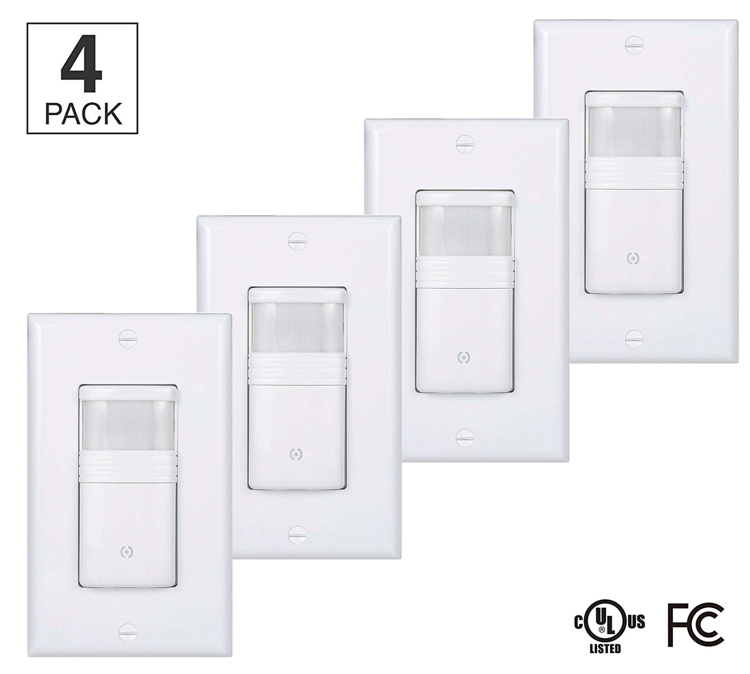 (Pack of 4) White Motion Sensor Light Switch – NEUTRAL Wire Required – For Indoor Use – Vacancy & Occupancy Modes – Title 24, UL Certified – Adjustable Timer
