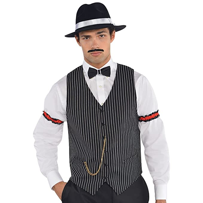 1920s Style Mens Vests Amscan Roaring 20s Gangster Vest Mens Pary Black $19.90 AT vintagedancer.com