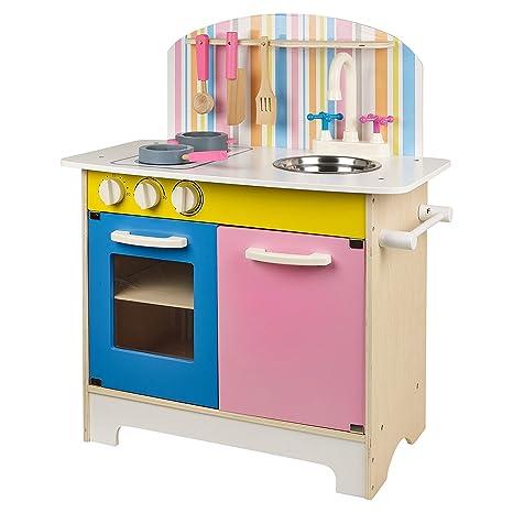 Juego de cocina con utensilios de madera, rosa y azul, 25 piezas ...