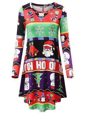 a3489074f0fe GUBEEEY Womens Ugly Xmas Dress Long Sleeve Black Christmas Swing Midi Dress