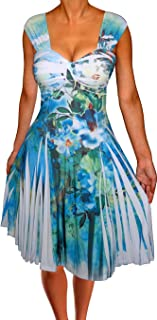 product image for Funfash Plus Size Women Empire Waist White Blue Swing Cocktail Dress Made in USA