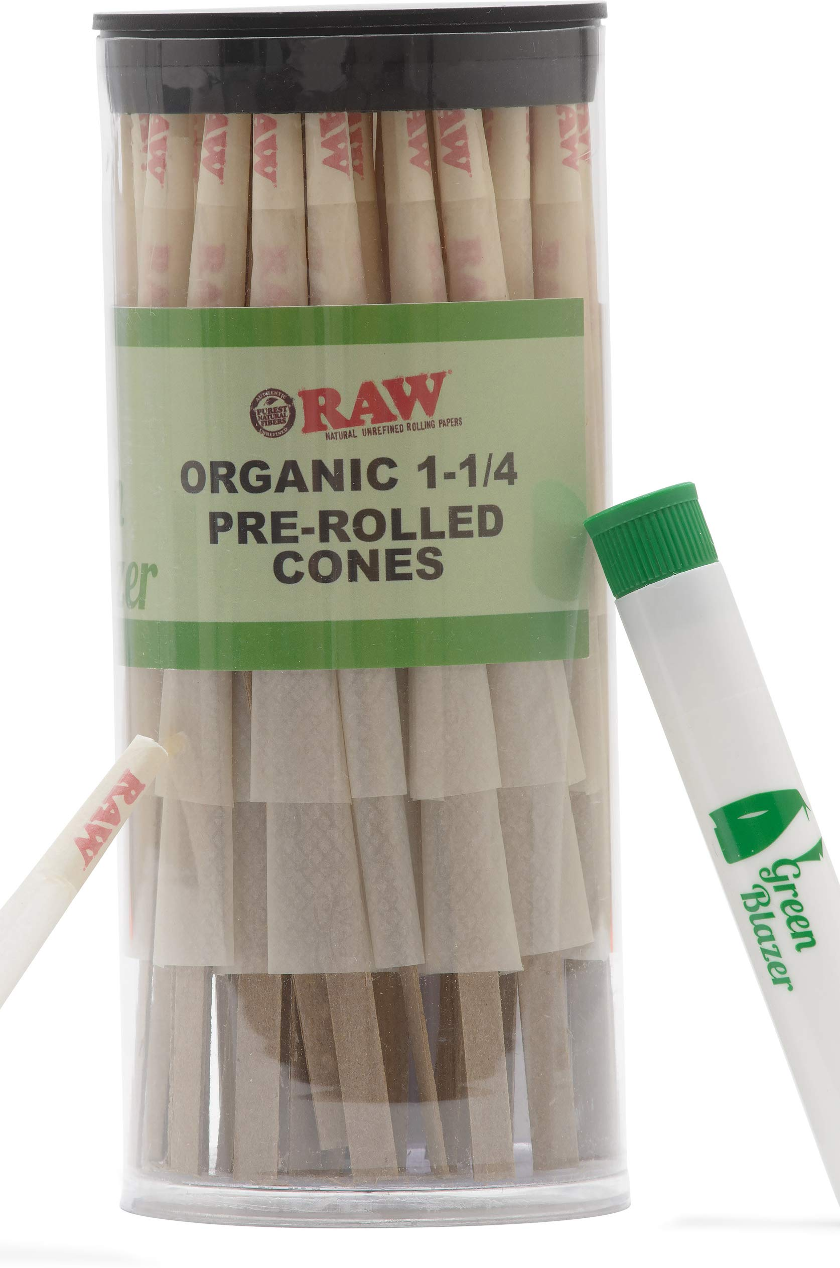 Raw Pre-Rolled Cones Organic 1 1/4: 100 Pack - Hemp Rolling Papers with Filters - Extra Clean and Slow Burning Cone Made of Pure Hemp - Doob Tube Included