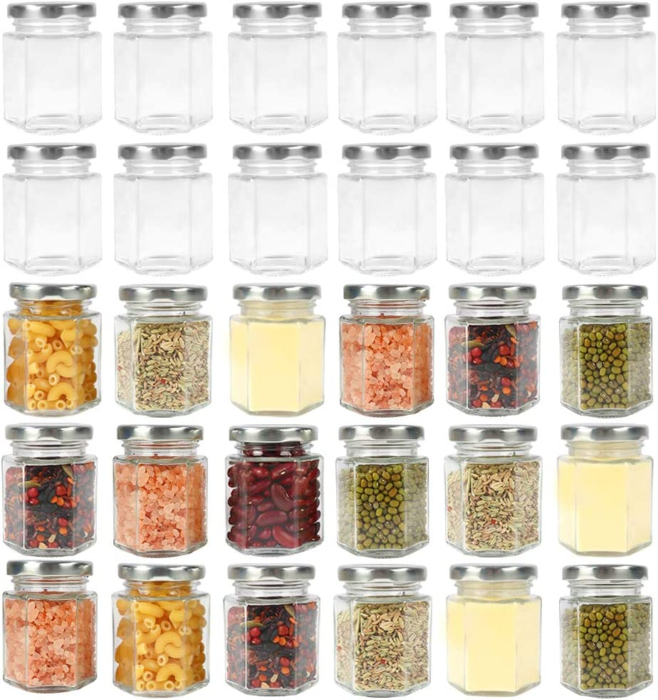 CycleMore 3oz Hexagon Glass Jars with Silver Lids, Clear Glass Canning Jars Jam Jars Bottles for Jams, Honey, Wedding Favors, Baby Foods, Gifts and Craft, DIY Spice Jars and More(Pack of 30)