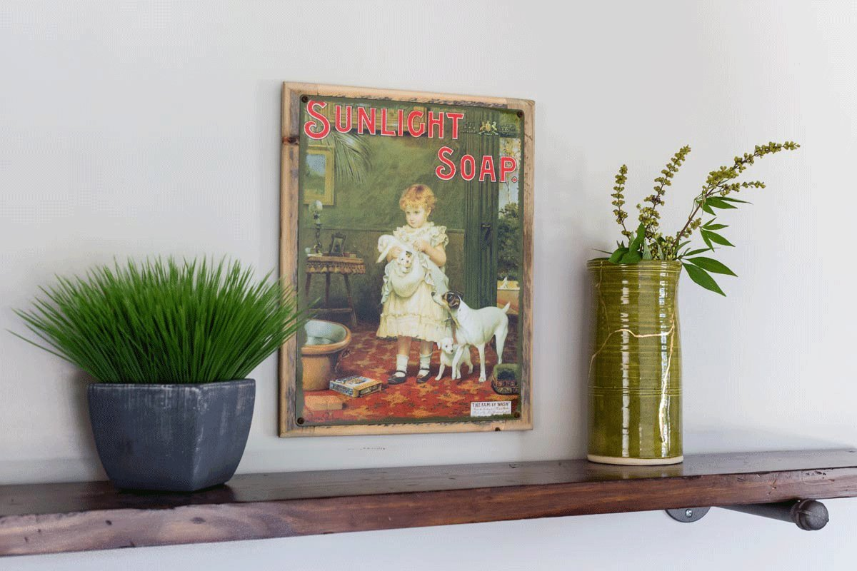 Sunlight Soap Metal Sign Framed on Rustic Wood: Soap, Laundry, and Bathroom Décor Wall Accent by OMSC (Image #2)