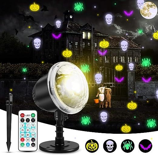 mimoday Luces De Proyector Halloween Luces De Interior Para Vacaciones Al Aire Libre Con Control Remoto Patrón De Luz 4 Piezas Para Decoraciones De ...