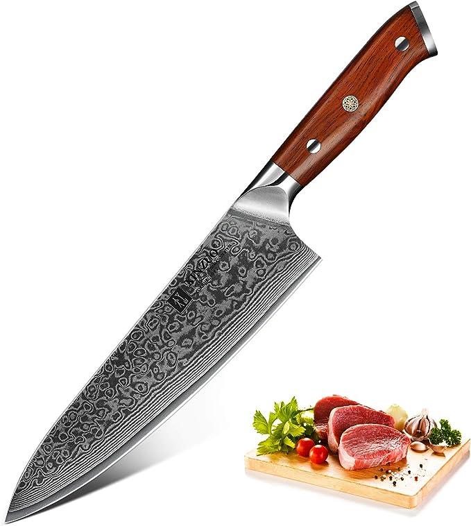 Compra XINZUO Cuchillo de Cocina 21cm de Acero Damasco Japonés 67 Capas Profesional Gyuto Cuchillo de Cocinero con Rosewood Mango - Yu Serie en Amazon.es