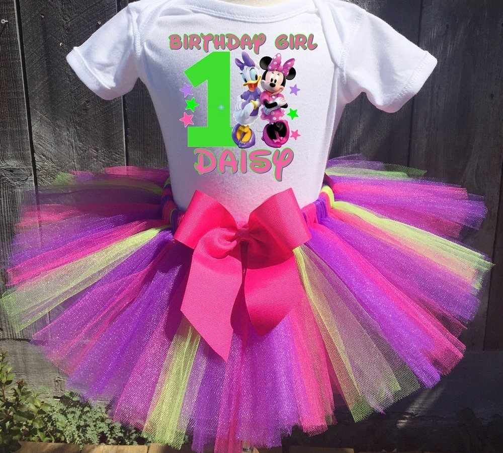 6e57777b0d8 Personalized Minnie Mouse and Daisy Duck birthday tutu outfit. Comes as  shown with Hot Pink