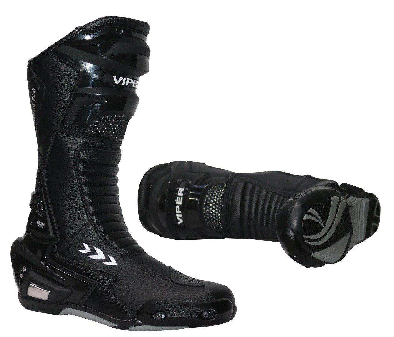 39//5 /– 47//13, Schwarz - Schwarz Viper 966S CE Sports Racing Boots Motocross Enduro MX Off Road Abenteuer Dreckige Fahrrad Quad BMX ATV Motorrad Mountainbike Stiefel 42//8