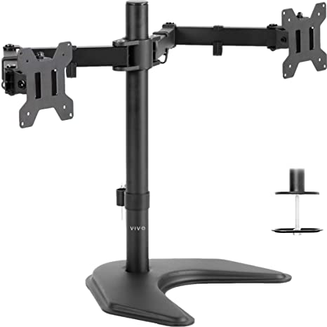 VIVO Dual LED LCD Monitor Free-Standing Desk Stand for 2 Screens up to 27  inches | Heavy-Duty Fully Adjustable Arms with Optional Bolt-Through  Grommet