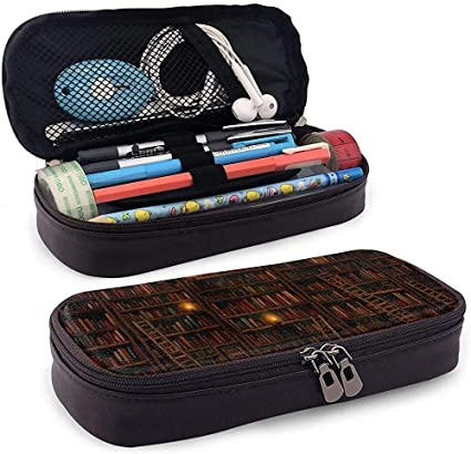 Biblioteca Estantería Estuche de lápices Cuero de PU Gran capacidad Lápiz Bolsa Maquillaje Estuche para lápices Estudiantes Papelería: Amazon.es: Oficina y papelería