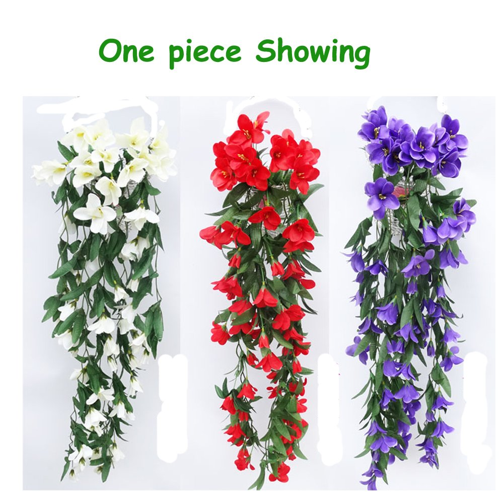 Colorfulife® 2pcs/lot Artificial Lifelike Silk 35'' Lily Bracketplant Hang Flower Vine Rattan Cane Garland Wall Hanging Plant Wedding Party Home Garden Room Balcony Decoration,6 Colors (Hot Pink) by Colorfulife (Image #2)