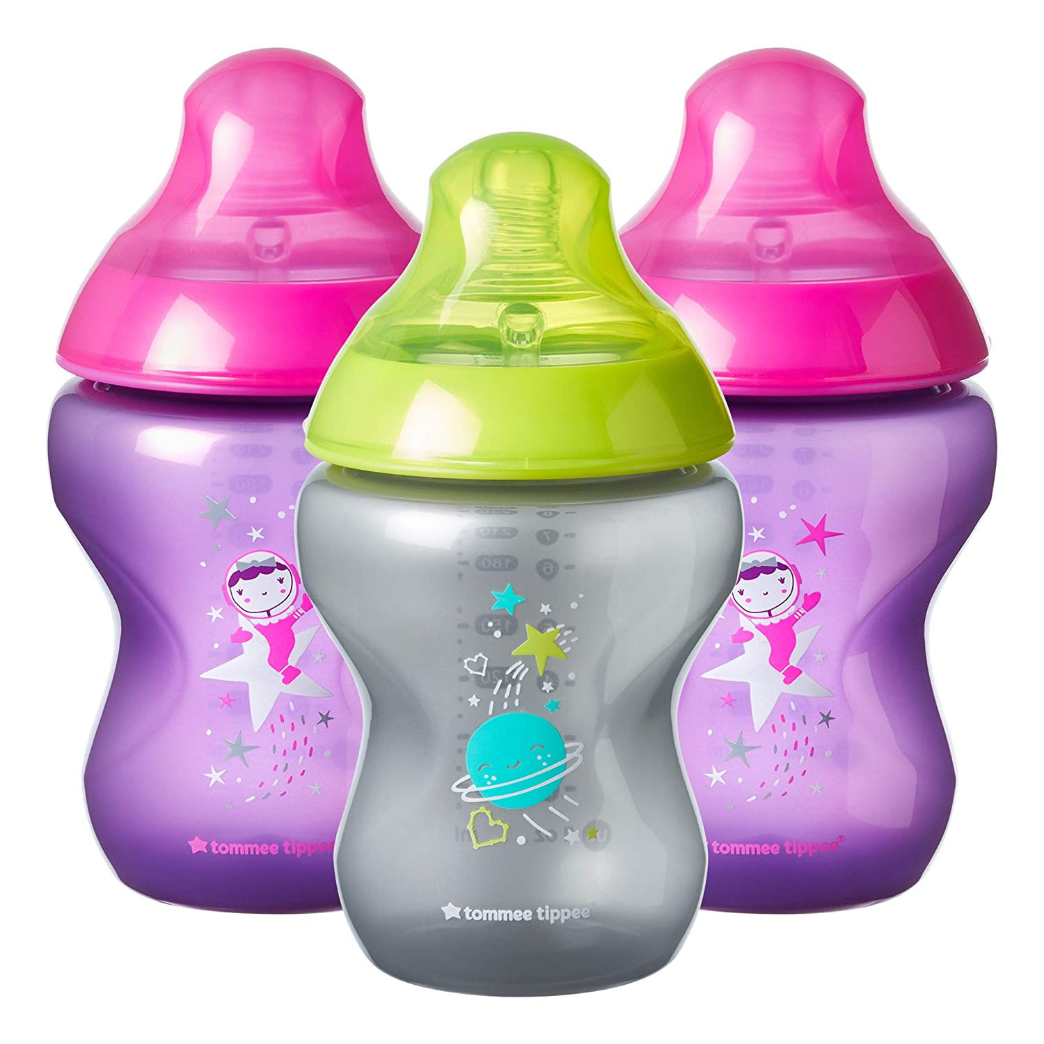Girl Tommee Tippee Closer to Nature Boldly Go Decorated Gift Set with 6-Piece Baby Bottles /& 6-18 Month Pacifiers