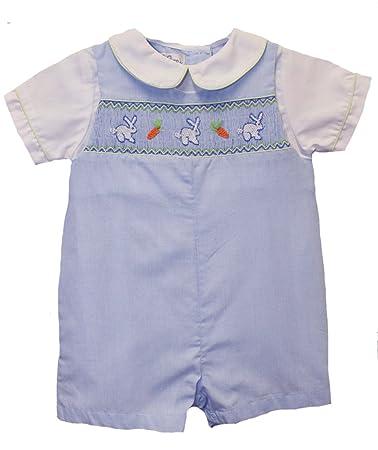 f0b475553 Amazon.com  Boys Easter Outfit Blue Check Smocked Bunnies Shortall ...