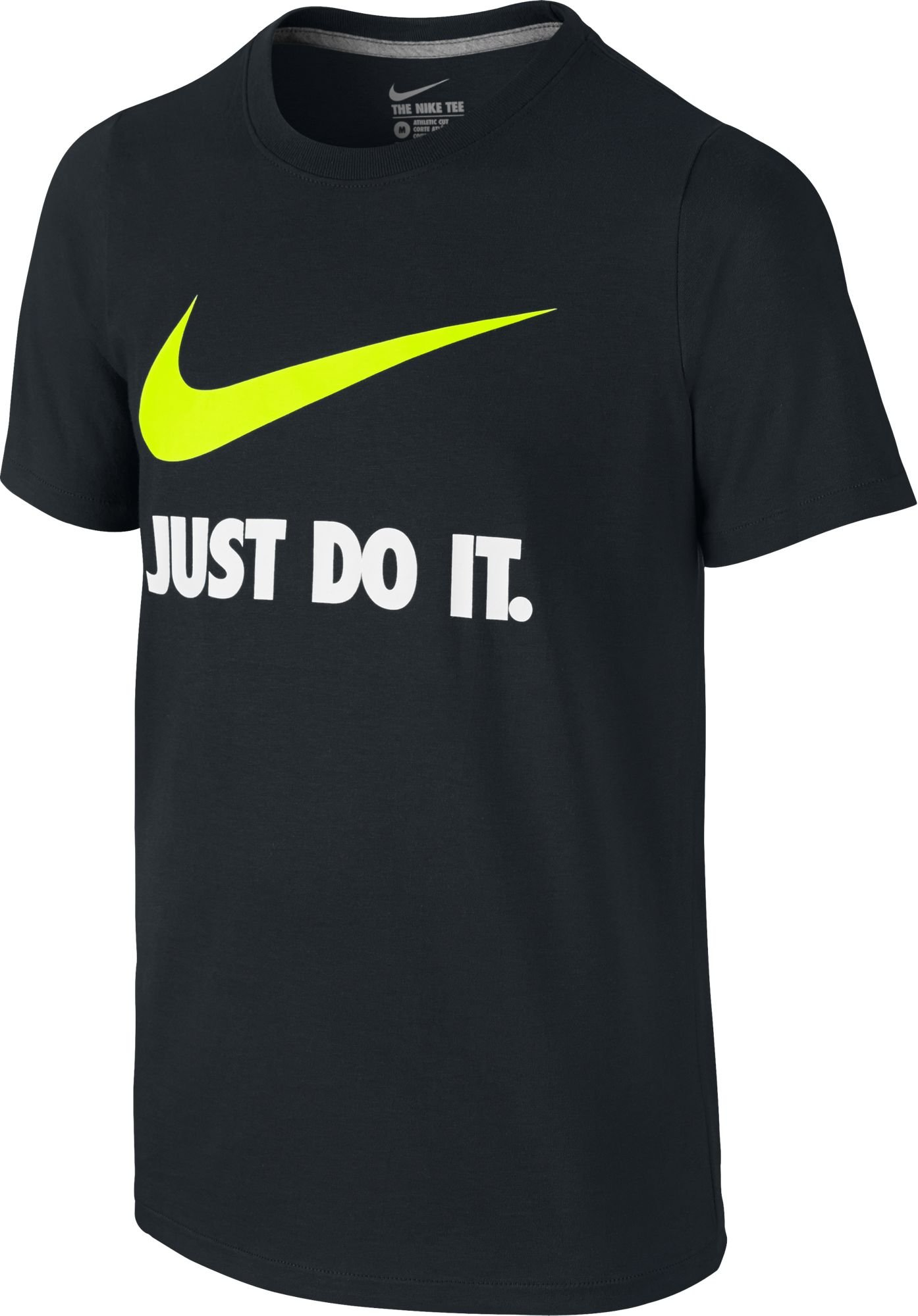 NIKE Boys' Just Do It Swoosh Tee, Black/Volt, Large