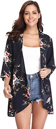 Aibrou Cárdigan Kimonos Mujer Camisolas y Pareos Pareo Playa,Cardigan Verano Manga 3/4 Tops Blusa Floral Suelta,Vacaciones Playa Chal