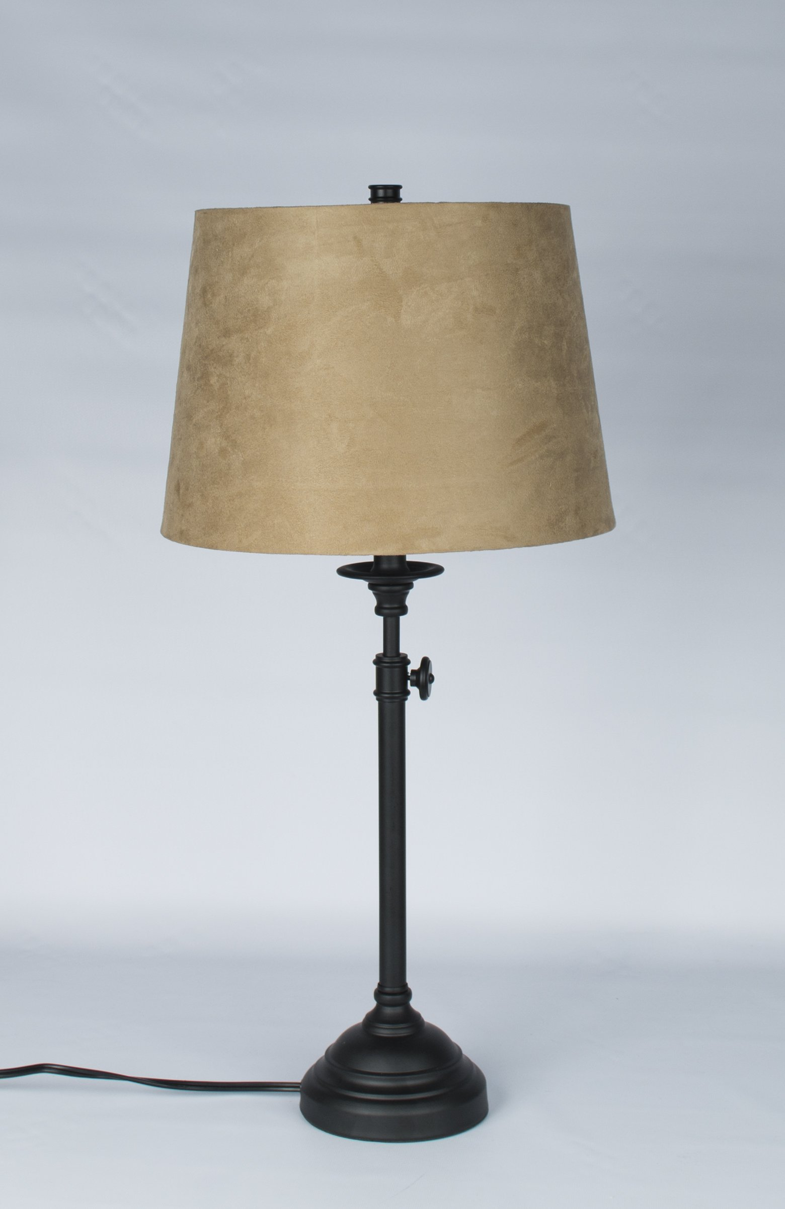 Urbanest Windsor Adjustable Accent Lamp, Matte Black Finish Lamp Base with Tan Suede Lampshade