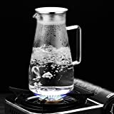 HOLD U FUN 1.8L/63oz Glass Water Carafe Pitcher