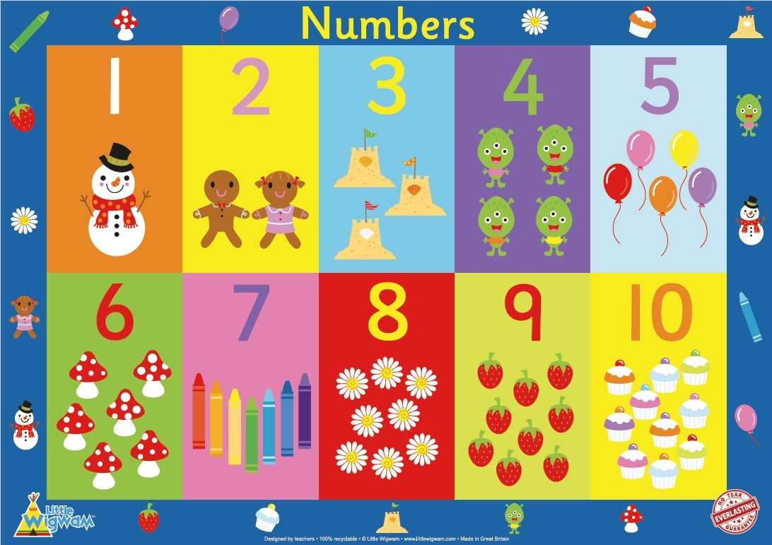 Little Wigwam numeri poster educativo antistrappo (60 x 42 cm) p2numbers