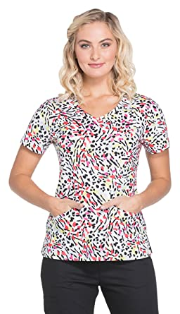 d118eac13b9 Image Unavailable. Image not available for. Color: Dickies EDS Signature  Women's V-Neck Animal Print Scrub Top ...
