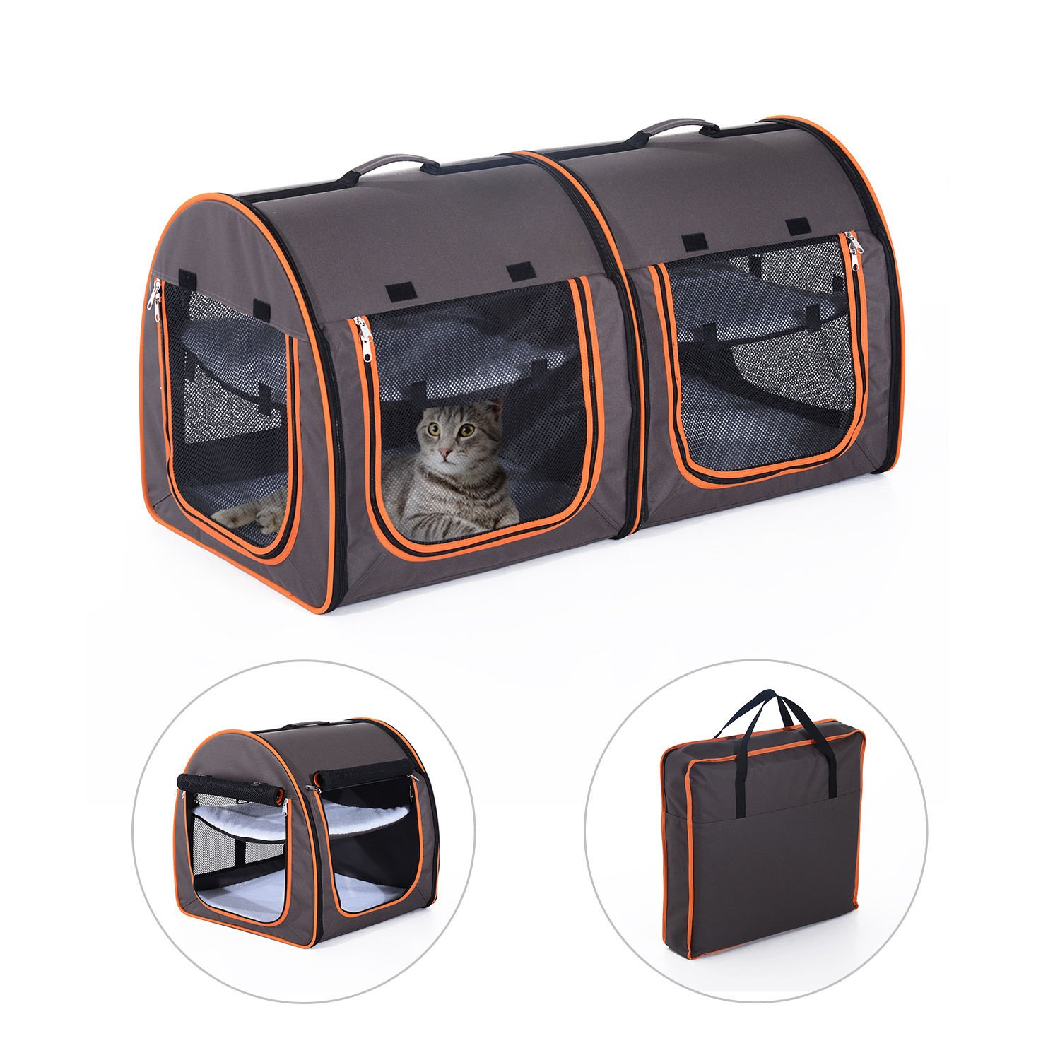 Pawhut 39'' Soft-Sided Portable Dual Compartment Pet Carrier - Gray by PawHut