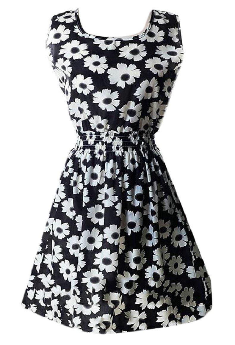 Smeiling Women's Fashion Chiffon Printed Sleeveless A Line Beach Mini Dress 11 S